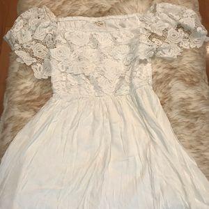 NWOT White Lace Off Shoulder Dress! Size Large